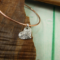 Copper Stacking Bangle with Sterling Silver Heart Charm