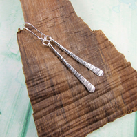 Earrings, Eco Silver Line Texture Hammered Dropper Earrings