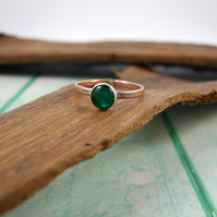 Sterling Silver, Rose Gold Filled and Green Paua Shell Ring, Adjustable Fit