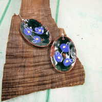 Forget me not Earrings, Enamelled Copper with Sterling Silver, Blue and Green