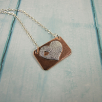 Rustic Heart Pendant, Sterling Silver and Copper Necklace