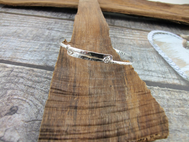 Sterling Silver Inspiration Bangle.  Hammered and Stamped Narrow Bangle,