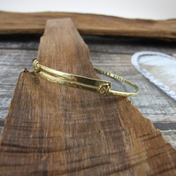 Brass Inspiration Bangle.  Hammered and Stamped Be a Unicorn Always