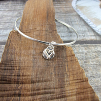 Sterling Silver Heart Charm Bangle with Gold Accents