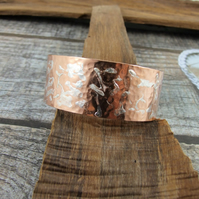 Copper Wide Hammered Cuff Bangle, 1in Wide Cuff Bracelet, Medium Fit