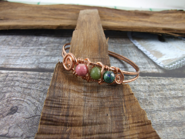 Copper Rose Wrap Bangle with Rhodonite, Chrysocolla & Nephrite Jade