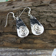 Earrings,  Sterling Silver Teardrop with Silver Spiral