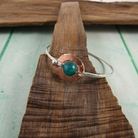 Sterling Silver Textured Bangle with Copper Buckle and Green Agate