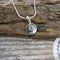 Silver Poppy Pendant,  Minimalist, Dainty Flower Necklace