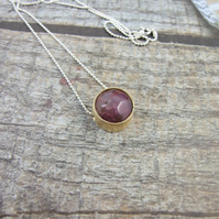 Agate Pendant. Sterling Silver and Brass Circle Pendant with Dusky Lilac Agate