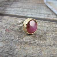 Statement Ring, Sterling Silver, Brass and  Rose Pink Agate Ring, Adjustable Fit
