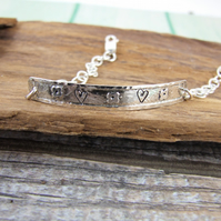 Sterling Silver Bracelet, Etched with Tiny Flowers and Stamped with Hearts