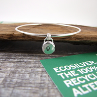 Recycled Sterling Silver Peace Charm Bangle