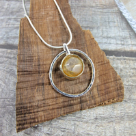Lemon Agate Necklace, Sterling Silver with Brass Bezel Set Faceted Agate
