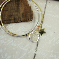 Sterling Silver and Brass Charm Bangle Set. Moon and Star, Moonstone Bangle