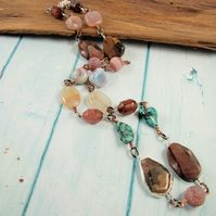 Bold Long Statement Autumn Gemstone Necklace with Sterling Silver and Copper