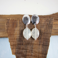 Earrings, Sterling Silver Oval Stud with Quartz Dropper
