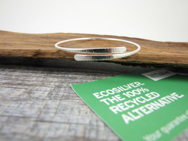 Recycled EcoSilver Simple Line Textured  Bangle, Adjustable Fit, Wrap Bracelet
