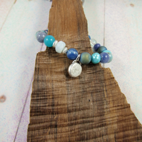 Mixed Gemstone Adjustable Fit Charm Bracelet in Blue Tones with Sterling Silver