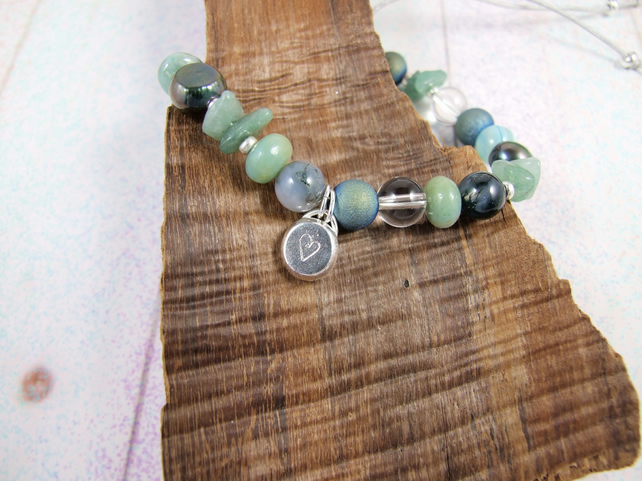 Mixed Gemstone Adjustable Fit Charm Bracelet in Green Tones with Sterling Silver