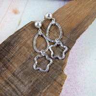 Earrings, Sterling Silver, Hammered Open Wire Star and Teardrop