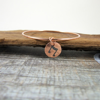 Copper Stacking Bangle with Musical Note Charm