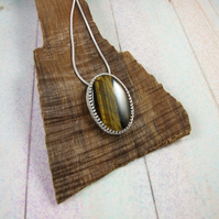Tigers Eye Necklace, Sterling Silver with Bezel Set Gemstone