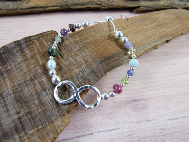 Sterling Silver Birthstones Infinity Knot Bracelet, Mixed Gemstone Adjustable