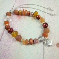 Mixed Gemstone Adjustable Fit Charm Bracelet, Autumn Tones with Sterling Silver