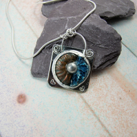 Rustic Ammonite Fossil Necklace. Naturally Pearlised Ammonite & Painted Silver