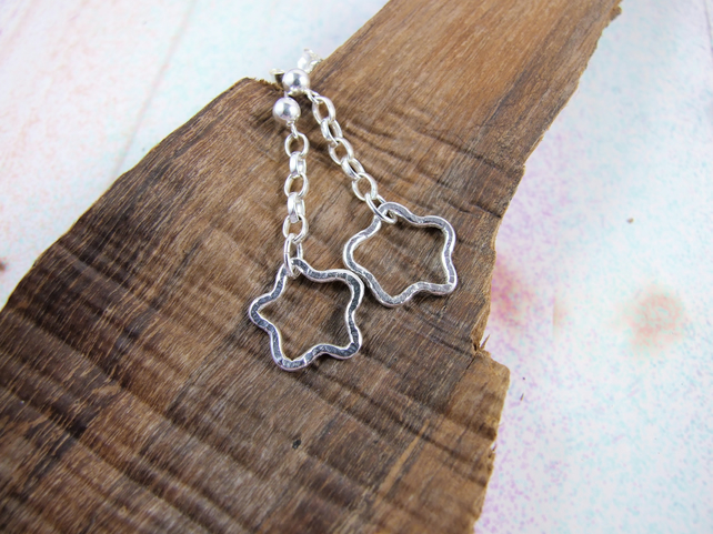 Earrings, Sterling Silver, Hammered Open Wire Star Droppers