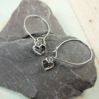 Earrings, Sterling Silver Tiny Heart Dropper Earrings