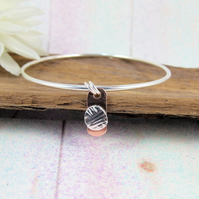 Sterling Silver Wool Charm Bangle with Copper Accents