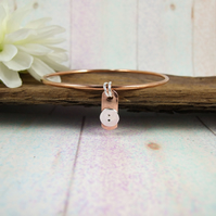 Copper Button Charm Bangle with Silver Accents