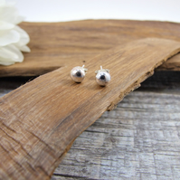 Sterling Silver Round Stud Earrings, Textured Recycled Silver Dainty Earrings