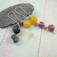 Gemstone Earrings, Set of 3 Changeable Sterling Silver Gemstone Droppers
