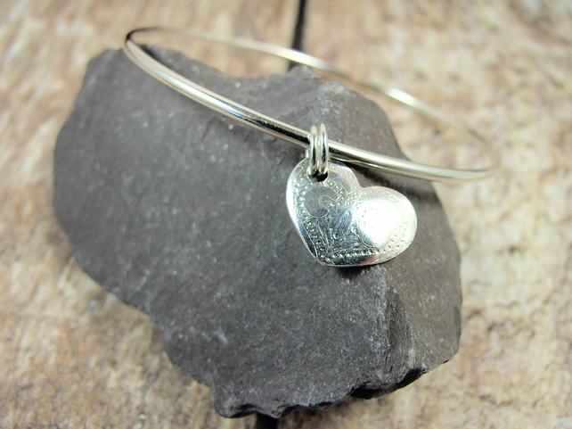 Sterling Silver and Heart Charm Bangle
