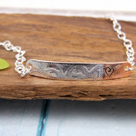 Sterling Silver and Copper Slim Bar Bracelet, Hand forged and patterened