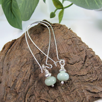 Earrings, Sterling Silver Long Drop with Amazonite Gemstones