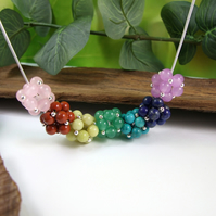 Rainbow Gemstone and Silver Large Bead Statement Necklace