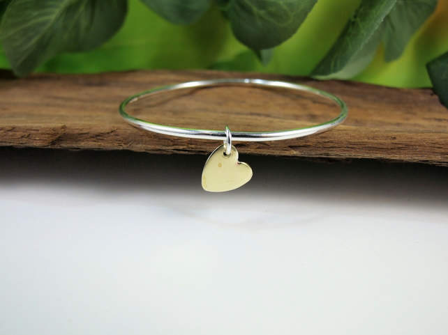 Sterling Silver Bangle with Reversible Brass and Silver Heart Charm