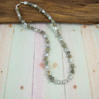 Silver Grey Pearl and Labradorite Necklace with Sterling Silver