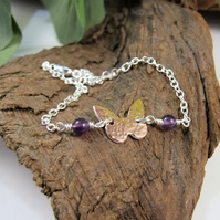 Butterfly Bracelet. Sterling Silver, Copper and Amethyst, Reversible Butterfly
