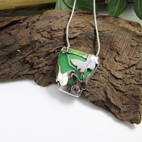 Sterling Silver Butterfly Pendant with Spring Green Howlite