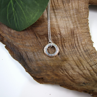 Sterling Silver & Rose Gold Filled Circles Necklace. Minimalist Pendant