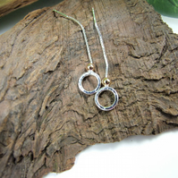 Sterling Silver Circle Earrings. Thread Through Chain with Rose Gold Filled Bead