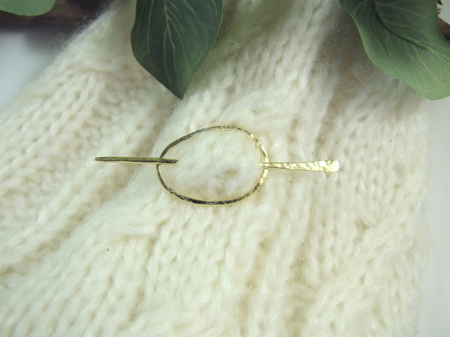Small Shawl Pin, Brass Oval Ring and Pin, Scarf or Cardigan Clasp
