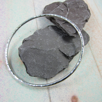 Sterling Silver Oval Hammered Bangle