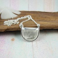 Rutile Quartz Necklace, Sterling Silver with Bezel Set Quartz Gemstone