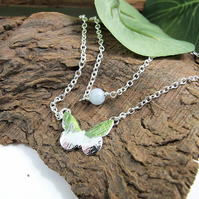 Sterling Silver Layered Necklace with Butterfly and Aquamarine Gemstone